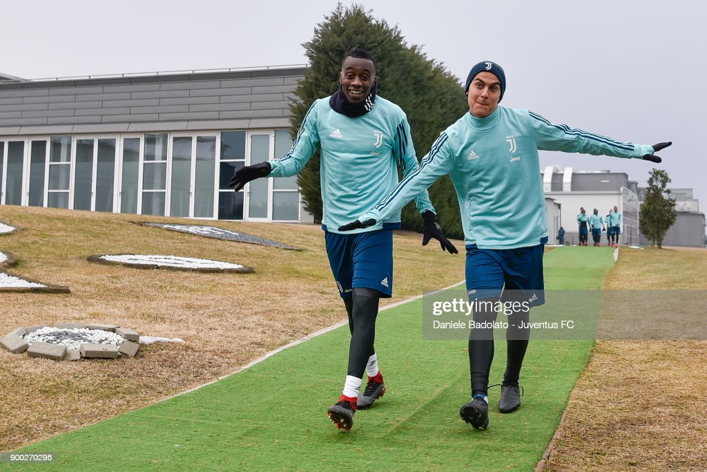 Blaise Matuidi and Paulo Dybala during a Juventus Training Session at Juventus Center Vinovo on January 1, 2018 in Vinovo, Italy.