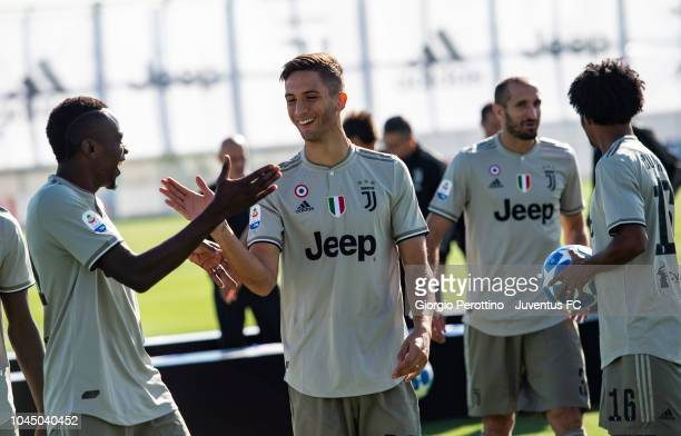 Blaise Matuidi and Rodrigo Bentancur are seen during the Juventus Official Team Photo at JTC on October 3 2018 in Turin Italy