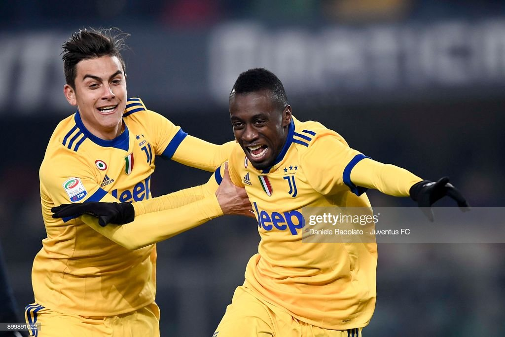Blaise Matuidi celebrates 0-1 goal during the serie A match between Hellas Verona FC and Juventus at Stadio Marc'Antonio Bentegodi on December 30, 2017 in Verona, Italy.