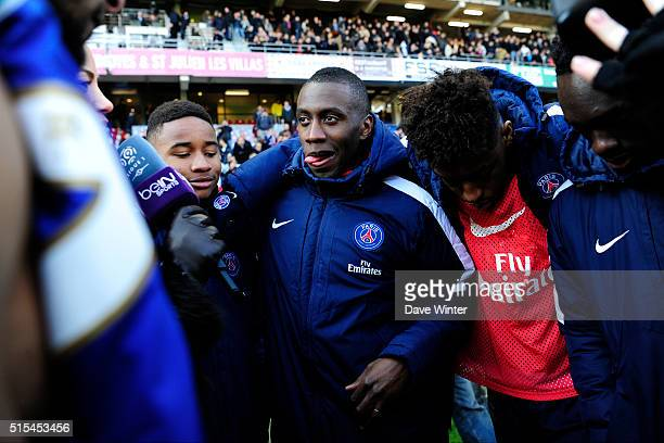 Blaise Matuidi celebrates PSG winning their fourth consecutive Ligue 1 title after the French Ligue 1 match between ESTAC Troyes and Paris...