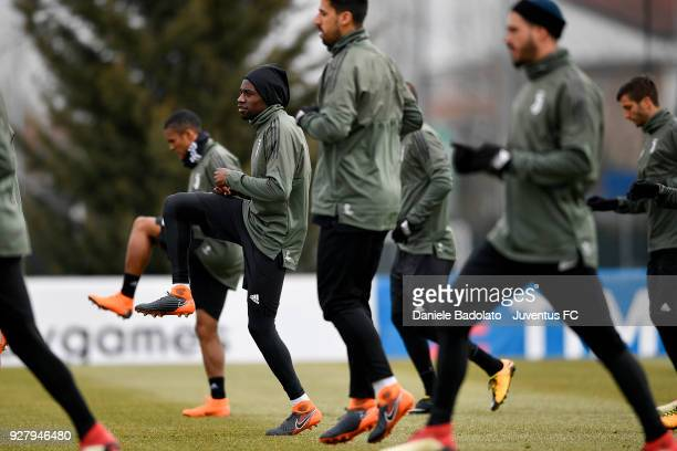Blaise Matuidi during the training session before the Champions League match between Tottenham Hotspur and Juventus at Juventus Center Vinovo on...