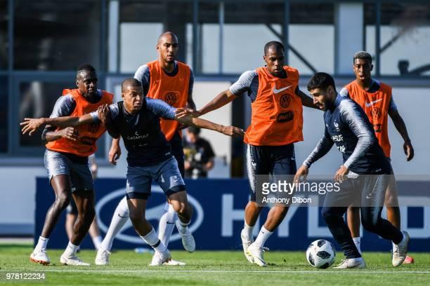 Blaise Matuidi Kylian Mbappe Steven Nzonzi Djibril Sidibe Nabil Fekir and Presnel Kimpembe of France during Team France training session ahead of the...