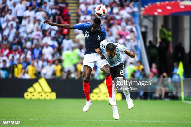 Blaise Matuidi of France and Gabriel Mercado of Argentina during the FIFA World Cup Round of 16 match between France and Argentina at Kazan Arena on...