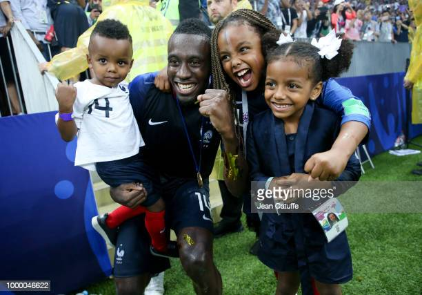 Blaise Matuidi of France and his kids celebrate the victory following the 2018 FIFA World Cup Russia Final between France and Croatia at Luzhniki...