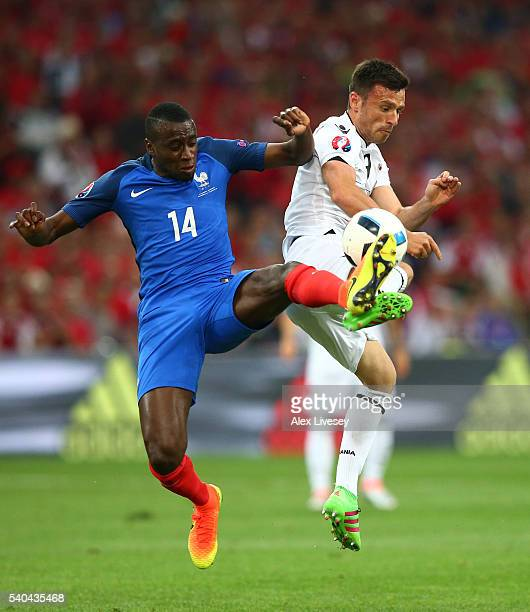 Blaise Matuidi of France and Ledian Memushaj of Albania in action during the UEFA EURO 2016 Group A match between France and Albania at Stade...