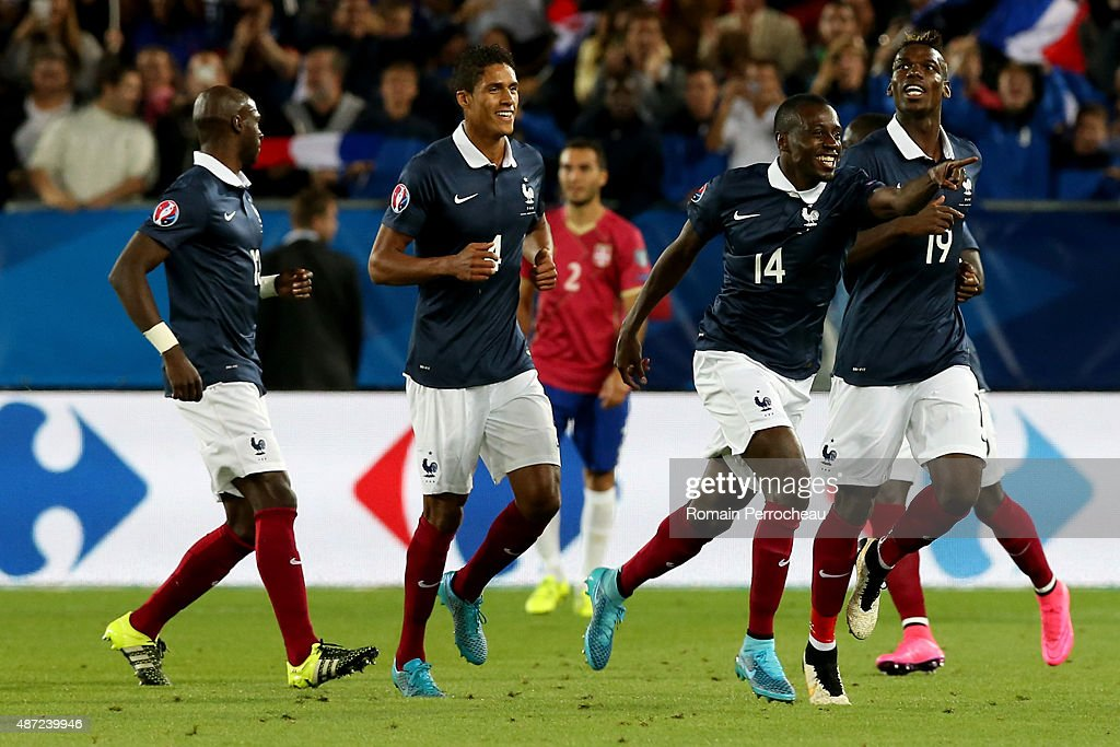Blaise Matuidi of France celebrates his first goal during the International Friendly game between France and Serbia on September 7, 2015 in Bordeaux, France.