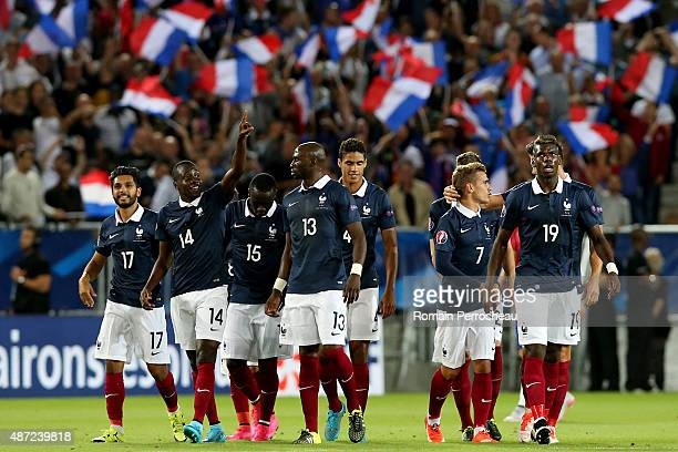 Blaise Matuidi of France celebrates his second goal during the International Friendly game between France and Serbia on September 7 2015 in Bordeaux...