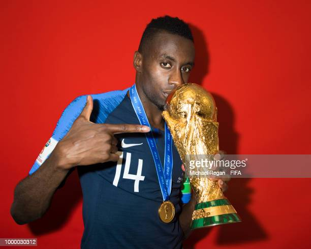 Blaise Matuidi of France poses with the Champions World Cup trophy after the 2018 FIFA World Cup Russia Final between France and Croatia at Luzhniki...