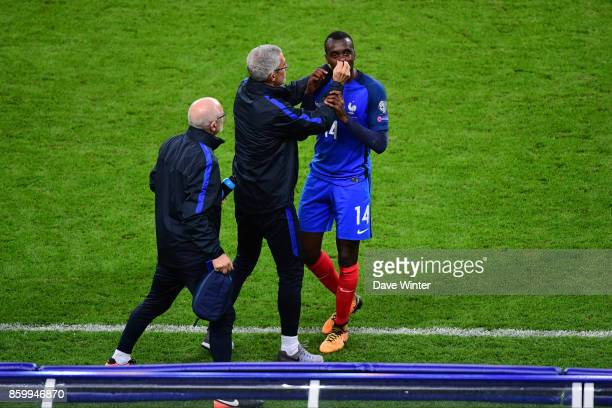 Blaise Matuidi of France receives treatment from France team doctor Franck Le Gall during the Fifa 2018 World Cup qualifying match between France and...