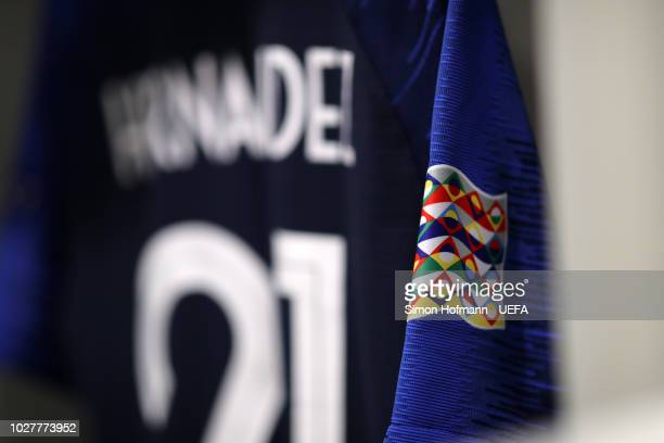 Blaise Matuidi of France shirt hangs in the changing room prior to the UEFA Nations League Group A match between Germany and France at Allianz Arena...