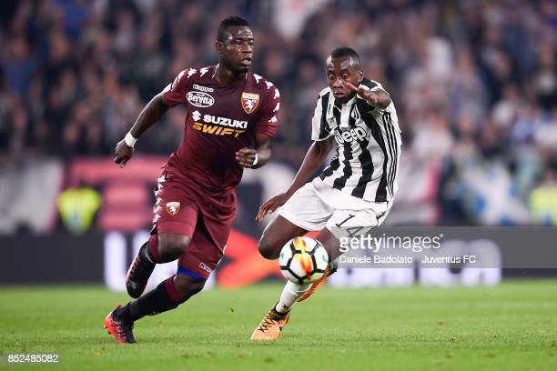 Blaise Matuidi of Juventus and Afriyie Acquah of Torino compete for the ball during the Serie A match between Juventus and Torino FC on September 23...