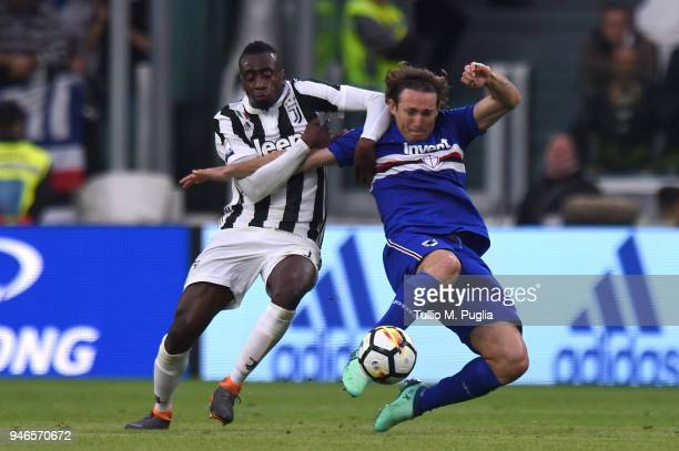 Blaise Matuidi of Juventus and Edgar Barreto of Sampdoria compete for the ball during the serie A match between Juventus and UC Sampdoria at Allianz...