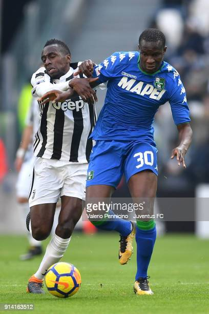 Blaise Matuidi of Juventus and Khouma Babacar of Sassuolo during the serie A match between Juventus and US Sassuolo on February 4 2018 in Turin Italy