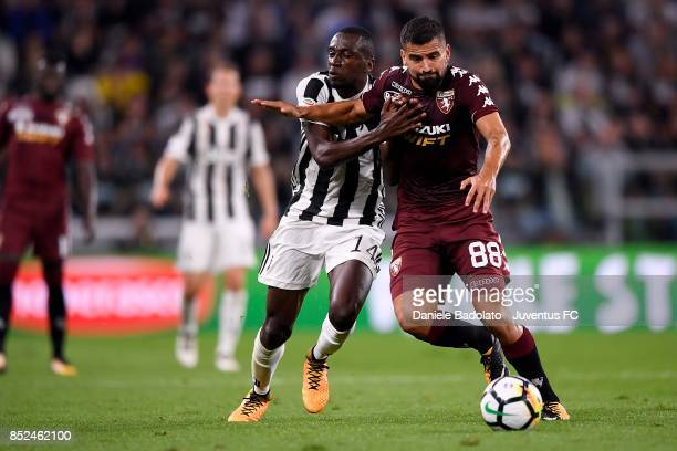 Blaise Matuidi of Juventus and Tomas Rincon of Torino compete for the ball during the Serie A match between Juventus and Torino FC on September 23...