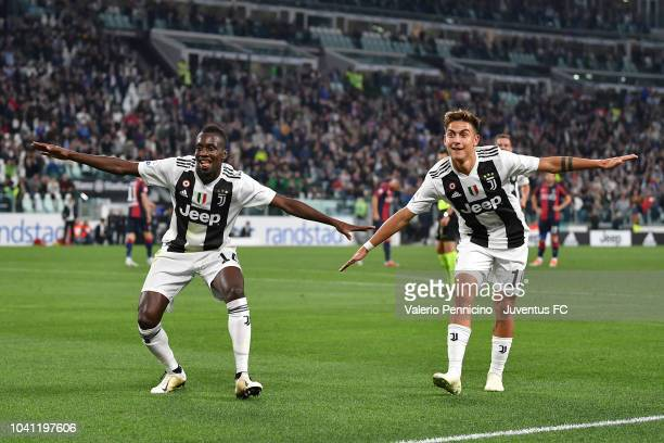 Blaise Matuidi of Juventus celebrates his goal of 20 with teammate Paulo Dybala during the serie A match between Juventus and Bologna FC on September...