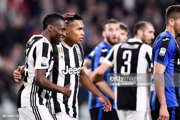 Blaise Matuidi of Juventus celebrates his goal of 20 with teammate Alex Sandro during the serie A match between Juventus and Atalanta BC on March 14...