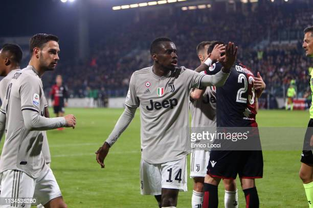Blaise Matuidi of Juventus celebrates the goal of Moise Kean during the Serie A match between Cagliari and Juventus at Sardegna Arena on April 2 2019...