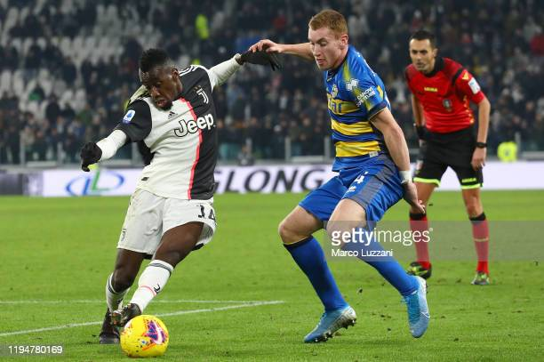 Blaise Matuidi of Juventus competes for the ball with Dejan Kulusevski of Parma Calcio during the Serie A match between Juventus and Parma Calcio at...