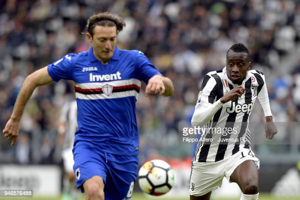 Blaise Matuidi of Juventus competes for the ball with Edgar Barreto of UC Sampdoria during the serie A match between Juventus and UC Sampdoria at...