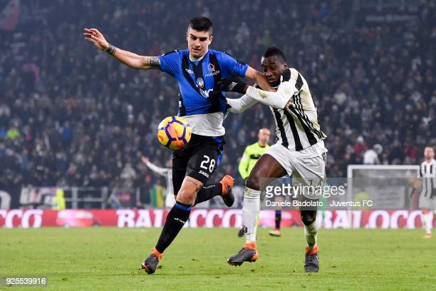 Blaise Matuidi of Juventus competes for the ball with Gianluca Mancini of Atalanta BC during the TIM Cup match between Juventus and Atalanta BC at...