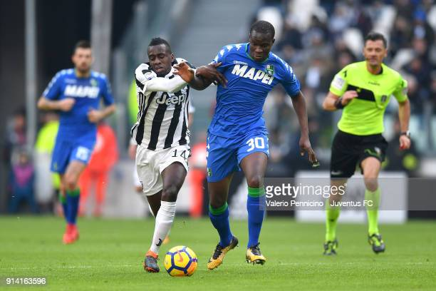 Blaise Matuidi of Juventus competes for the ball with Khouma Babacar of Sassuolo during the serie A match between Juventus and US Sassuolo on...
