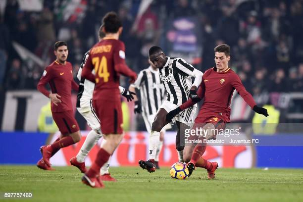 Blaise Matuidi of Juventus competes for the ball with Patrick Schick of AS Roma during the serie A match between Juventus and AS Roma at Allianz...
