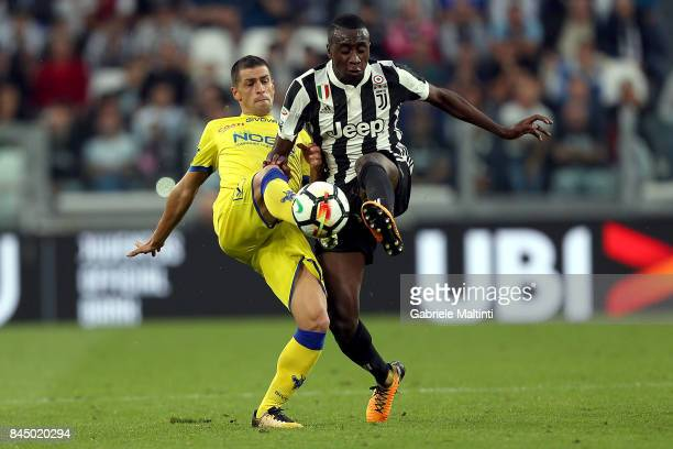 Blaise Matuidi of Juventus FC in action agaist Manuel Pucciarelli of AC Chievo Verona during the Serie A match between Juventus and AC Chievo Verona...