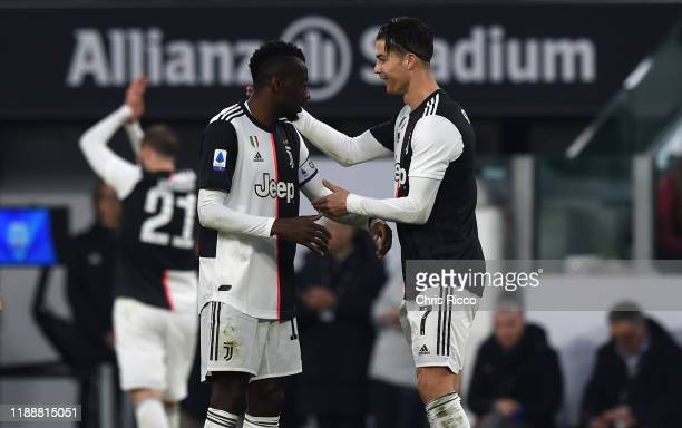 Blaise Matuidi of Juventus receives the captains armband from Cristiano Ronaldo of Juventus during the Serie A match between Juventus and Udinese...