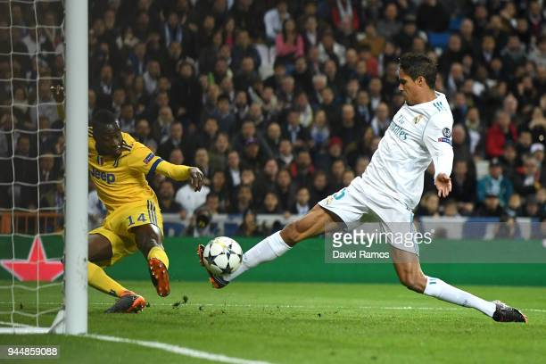 Blaise Matuidi of Juventus scores his sides third goal during the UEFA Champions League Quarter Final Second Leg match between Real Madrid and...