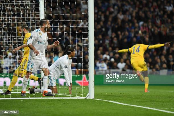 Blaise Matuidi of Juventus scores his sides third goal whilst Daniel Carvajal of Real Madrid looks dejected from the back of the net during the UEFA...
