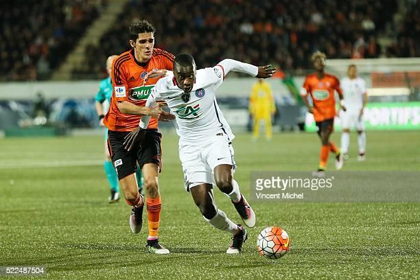 Blaise Matuidi of Paris Saint Germain and Francois Bellugou of Lorient during the semi-final French Cup between Lorient and Paris Saint-Germain at...