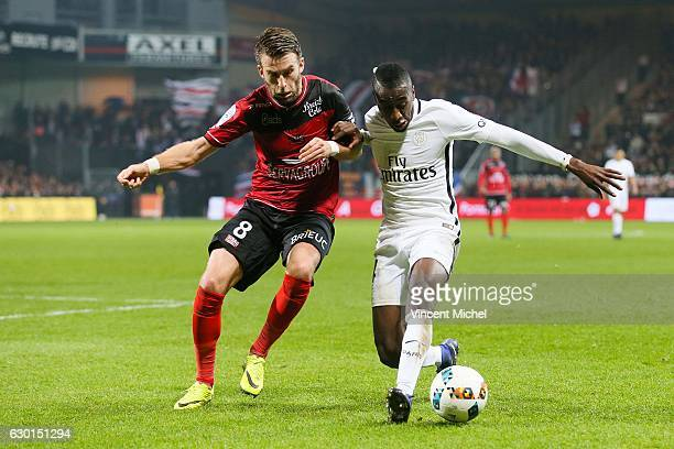 Blaise Matuidi of Paris Saint Germain and Lucas Deaux of Guingamp during the French Ligue 1 match between Guingamp and Paris Saint Germain at Stade...