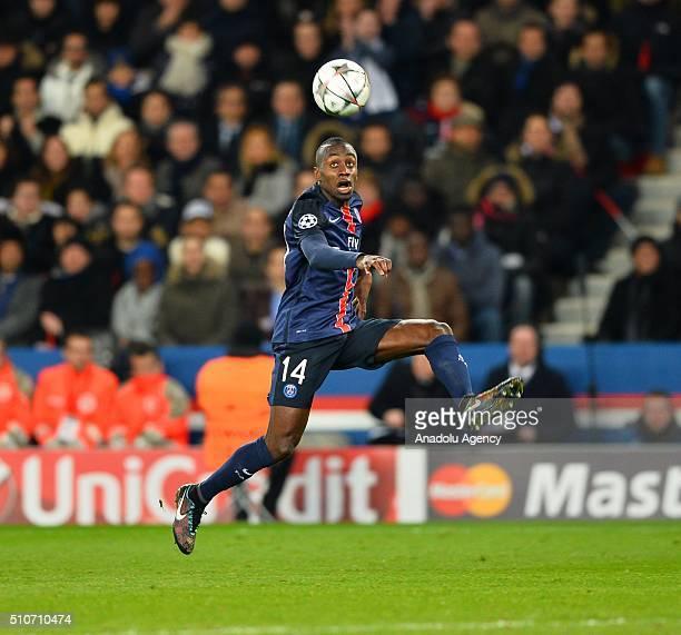 Blaise Matuidi of Paris Saint Germain drives the ball during the UEFA Champions League round of 16 first leg soccer match between Paris Saint Germain...