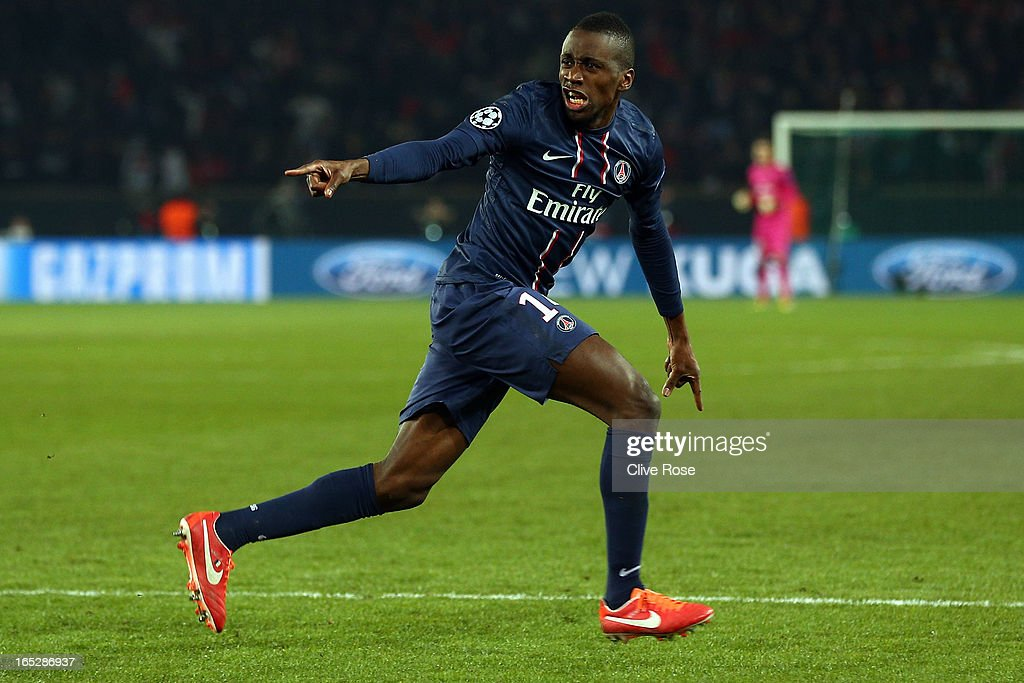 Blaise Matuidi of Paris Saint-Germain celebrates his goal during the UEFA Champions League Quarter Final match between Paris Saint-Germain and Barcelona FCB at Parc des Princes on April 2, 2013 in Paris, France.