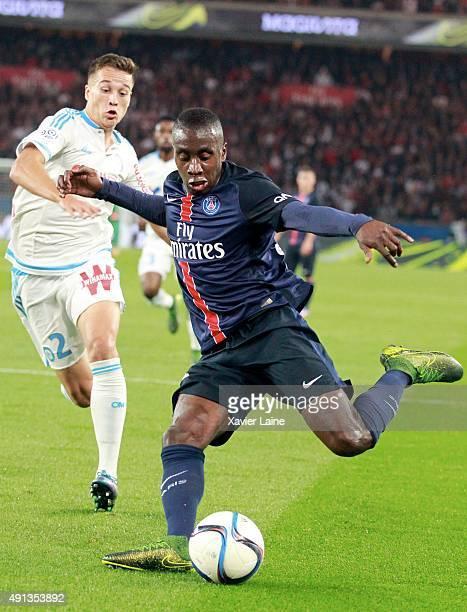 Blaise Matuidi of Paris SaintGermain in action during the French Ligue 1 between Paris SaintGermain and Olympique de Marseille at Parc Des Princes on...