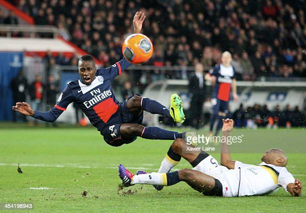 Blaise Matuidi of Paris SaintGermain is tackle during the French Ligue 1 between Paris SaintGermain FC and SochauxMontbeliard FC at Parc Des Princes...