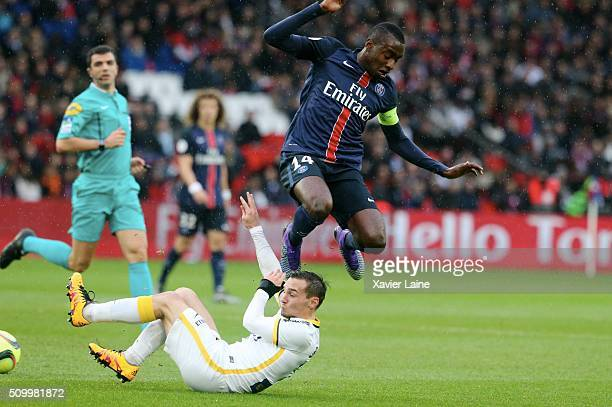 Blaise Matuidi of Paris SaintGermain jump over Eric Bautheac of Lille LOSC during the French Ligue 1 between Paris SaintGermain and Lille OSC at Parc...