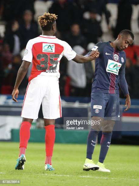 Blaise Matuidi of Paris SaintGermain reacts with Kevin N'Doram of AS Monaco after the French Cup SemiFinal match between Paris SaintGermain and As...