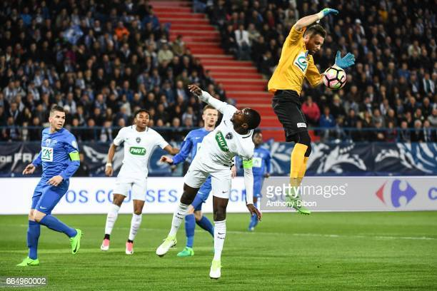 Blaise Matuidi of PSG and Anthony Beuve of Avranches during the French National Cup Quarter Final match between Us Avranches and Paris Saint Germain...