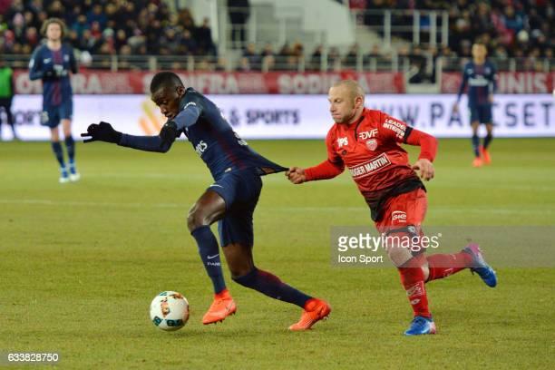 Blaise Matuidi of PSG and Florent Balmont of Dijon during the Ligue 1 match between Dijon DCO and Paris Saint Germain at Stade Gaston Gerard on...