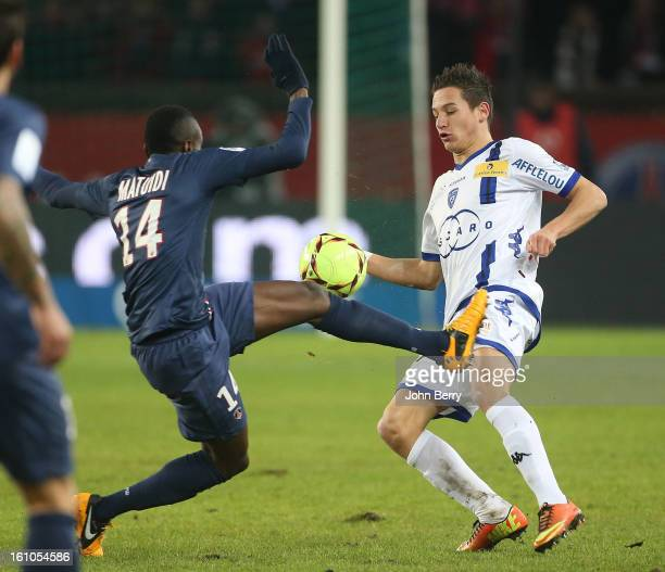 Blaise Matuidi of PSG and Florian Thauvin of SC Bastia in action during the French Ligue 1 match between Paris Saint Germain FC and Sporting Club de...