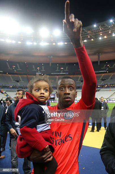 Blaise Matuidi of PSG and his daughter Naelle Matuidi celebrate the victory after the French League Cup final between Paris SaintGermain FC and...
