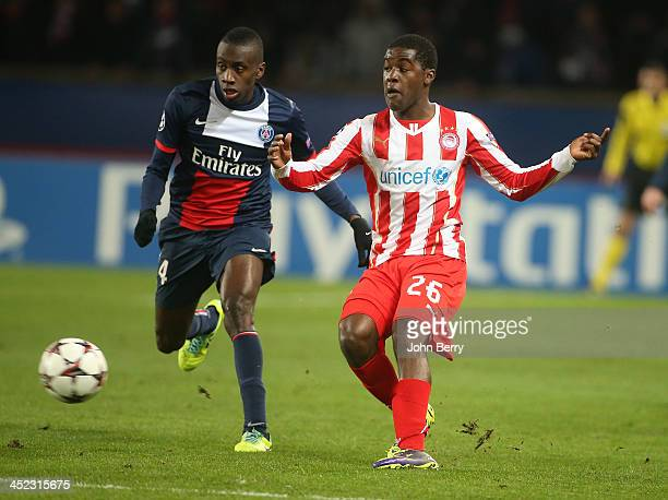 Blaise Matuidi of PSG and Joel Campbell of Olympiacos in action during the UEFA Champions League Group C match between Paris SaintGermain FC and...