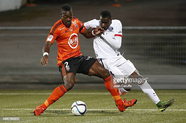 Blaise Matuidi of PSG and Lamine Kone of FC Lorient in action during the French Ligue 1 match between FC Lorient and Paris SaintGermain at Stade du...