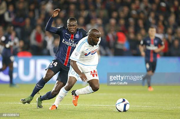 Blaise Matuidi of PSG and Lassana Diarra of OM in action during the French Ligue 1 match between Paris SaintGermain FC and Olympique de Marseille at...