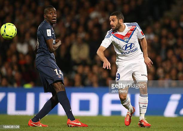Blaise Matuidi of PSG and Lisandro Lopez of Lyon in action during the Ligue 1 match between Olympique Lyonnais OL and Paris SaintGermain FC PSG at...