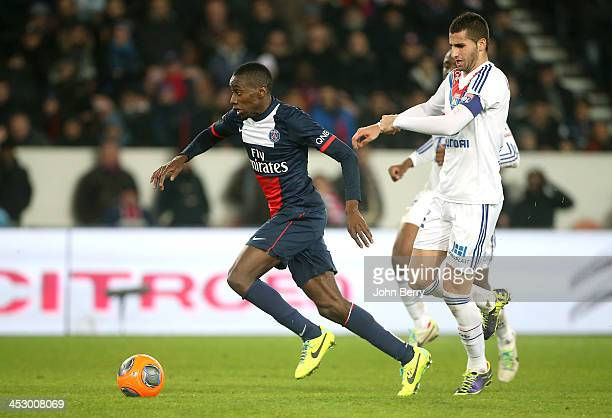 Blaise Matuidi of PSG and Maxime Gonalons of Lyon in action during the French Ligue 1 match between Paris SaintGermain FC and Olympique Lyonnais at...
