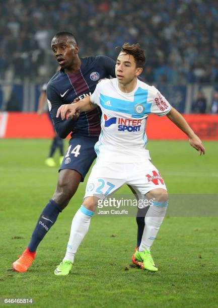Blaise Matuidi of PSG and Maxime Lopez of OM in action during the French Ligue 1 match between Olympique de Marseille and Paris Saint Germain at...