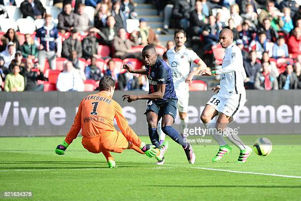 Blaise Matuidi of PSG passes for Edinson Cavani of PSG to score during the French Ligue 1 between Paris Saint Germain and Caen at Parc des Princes on...