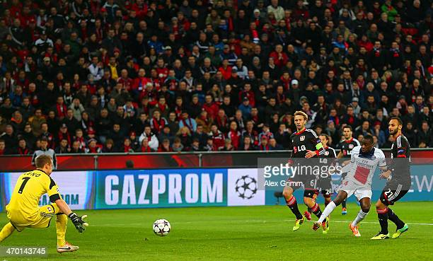 Blaise Matuidi of PSG scores their first goal past Bernd Leno of Bayer Leverkusen during the UEFA Champions League Round of 16 first leg match...